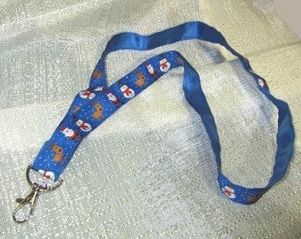 SANTA CLAUS/SNOWMAN Holiday Handmade Grosgrain & Satin Ribbon Lanyard/Keychain/Badge Holder w/Metal Charm....choose style
