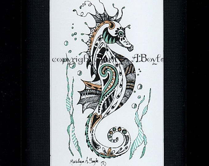 HAND PAINTED PRINT; seahorse, under the sea, from original art, miniature, framed, 6 x 8 inches, wall art, metallic pens,
