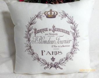 Paris pillow - Crown Pillow - black and White - Vintage French Pillow - Decorative Throw Pillow - French Country Decor - Paris Pillow