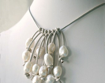 Beach Wedding Necklace - Pearl and Leather Necklace - June Birthday Gift - Pearl Bib Necklace - Pearl Jewelry For Bride
