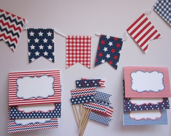 4th of July / Patriotic / Red White and Blue / Welcome Home / party decoration set