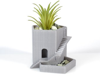 Ruins style succulents planter with drainage holes