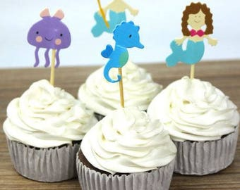 READY TO SHIP Ocean, Under the Sea Themed Cupcake Toppers, Picks, Cake Toppers, Cake Topper Pick, Cupcake Picks, Birthday, Baby