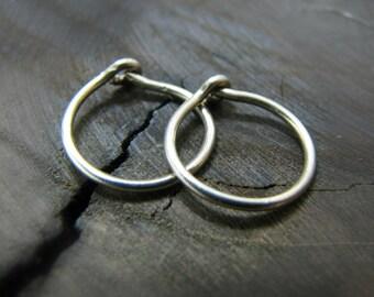 small sterling silver hoop earrings - cartilage hoop earring - tragus earring 16 gauge - helix earring hoop