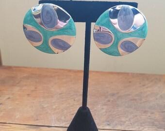 1980s Disc Earrings, Round Earrings