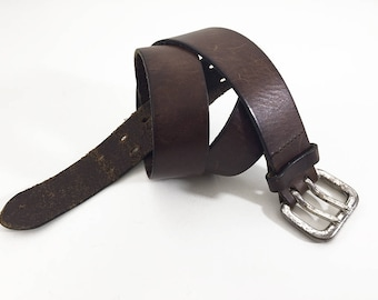 70s Double-Prong Belt — 2-Prong Brown Leather Belt Size 34 — Rustic Belt Made in USA of Italian Leather — Smooth Leather Belt