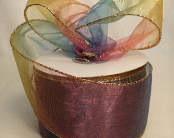 "Rainbow color sheer gold metallic wired ribbon, 2.5"" x 20 yards"