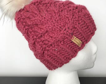Chunky Beanie|| Cable Knit Hat|| Large Fur Pom Beanie||Pink Cable Beanie|| Chunky Cable Hat|| Faux Fur Pom Hat|| Knitted Beanie