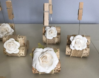 Burlap and Cork Table Number Card Holders