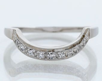 Vintage Wedding Band - Vintage Platinum Diamond Curved Wedding Band