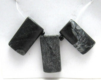 3 Pc Set Natural Picasso Marble rectangle Focal Beads (B86n)