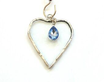 March birthstone, stained glass heart suncatcher ornament, March aquamarine light blue charm, mini heart sun catcher