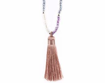 Pink Tassel Necklace, Seed Bead Necklace, Long Beaded Necklace, Large Tassel Necklace, Light Pink Necklace, Girlfriend Gift, Girly Gift
