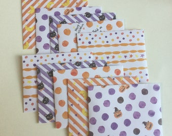 Halloween envelopes, pumpkin stationery, Halloween snail mail, happy mail, handmade small envelopes, set of 10, patterned