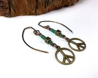 Boho Hippie Earrings Peace Sign Earrings Peace Sign Jewelry Girlfriend Birthday Gift Sister Gift Daughter Gift Teen Girl Graduation Gift
