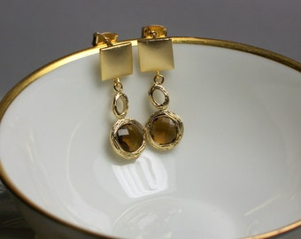 Stud Earrings, Dangle Earrings, Post Earrings, Gold Earrings, CZ Earrings, Glass, Smoky quartz color, Fashion Earrings