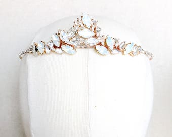 Rose gold tiara, White Opal Bridal Tiara, wedding tiara, wedding headband, statement tiara, leaf tiara, swarovski navette head piece