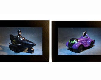 "Framed Batman + Catwoman Toy Photographs 5"" x 7"""