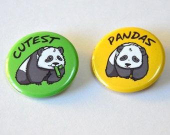 Cute Pandas 2 Pinback Buttons