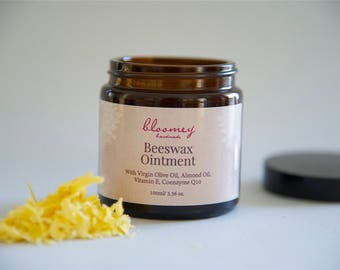 Beeswax Ointment, Herbal Beeswax Salve, Chapped Lips Remedy, Lip Balm, Wounds Healing Salve, Balm for Hands, Baby Salve, Organic Skin Care