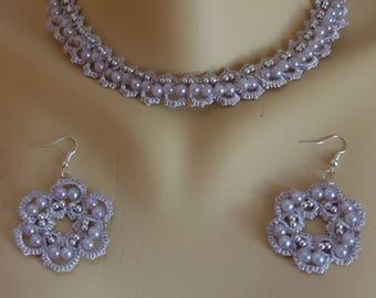 Frrivolite lace set: necklace, earrings