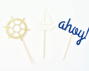 Nautical Cupcake Toppers - Nautical Baby Shower Decor,  Nautical Party Decor, Ahoy It's A Boy