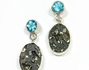 Silver Topaz earrings with Pyrite, 925 and Gemstone Earrings, Topaz Drop earrings