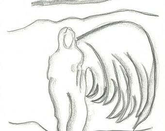 Femme aile. Crayons de papier sur feuille de carnet à dessin
