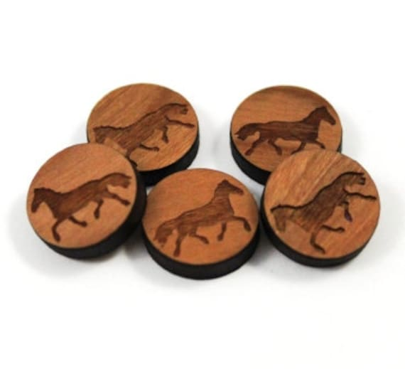 Laser Cut Supplies- 8 Pieces.Horse Charms-Acrylic and Wood Laser Cut-Jewellery Supplies- Little Laser Lab Wood and Acrylic Products