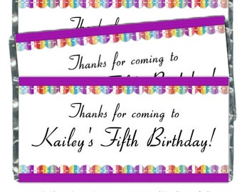 Rainbow Birthday Party Candy Wrappers - fit over 1.55 oz chocolate bars