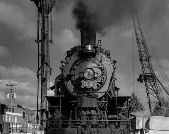 Train Photo - Black and White Steam Locomotive Print