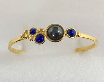 Gold plated brass cuff bracelet with hematite and lapis stones