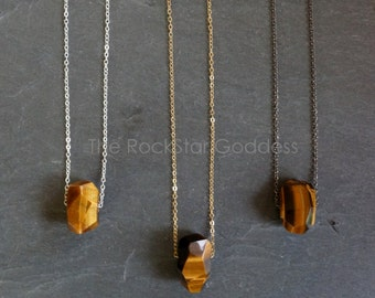 Tigers Eye Necklace / Protective Stone / Tiger's Eye Pendant / Tigers Eye / Tigers Eye Jewelry / Gold Tiger Eye Necklace