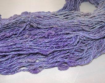 Handspun Kid Mohair Novelty Art Yarn Knots Purple 18-3-9