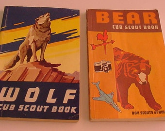 2 BOOKS Wolf & Bear Cub Scout Books Vintage 1964 1981 Official Boy Scouts of America Collectibles FREE SHIPPING
