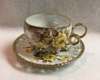 Royal Sealy China Yellow Rose Cup and Saucer (#049)