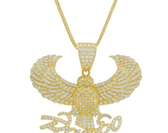 14K Gold Plated Sterling Silver Rambo And Eagle Pendant With Chain