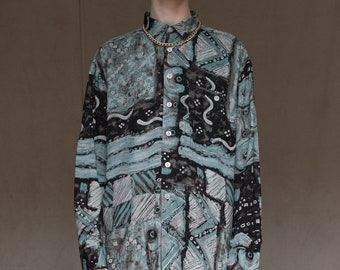 80s Psychodelic Cool Ashy Blue Shirt