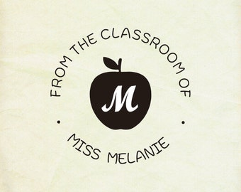 """from the classroom of stamp  -teacher stamp--From the desk of stamp with apple,teacher gift- 1.6"""" x1.6"""" -personalized stamp-any words custom"""