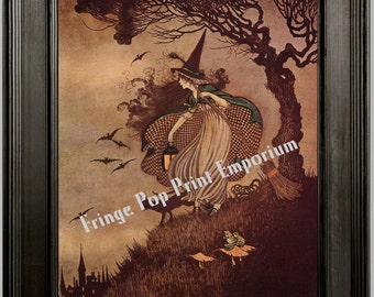 Art Nouveau Halloween Witch Art Print 8 x 10 - by Gnarly Tree