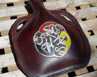 Leather Bottle with Celtic Hounds - Hand Tooled Hand Stitched Large Leather Flask