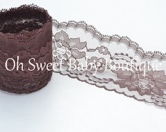 """3"""" Floral Lace Brown 10 Yards"""