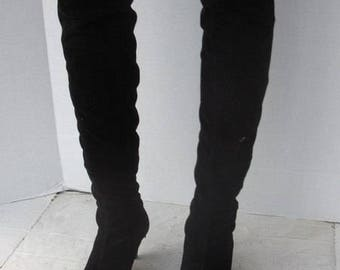 sz 36 vintage black cotton corduroy thigh high  boots CLONE label h03