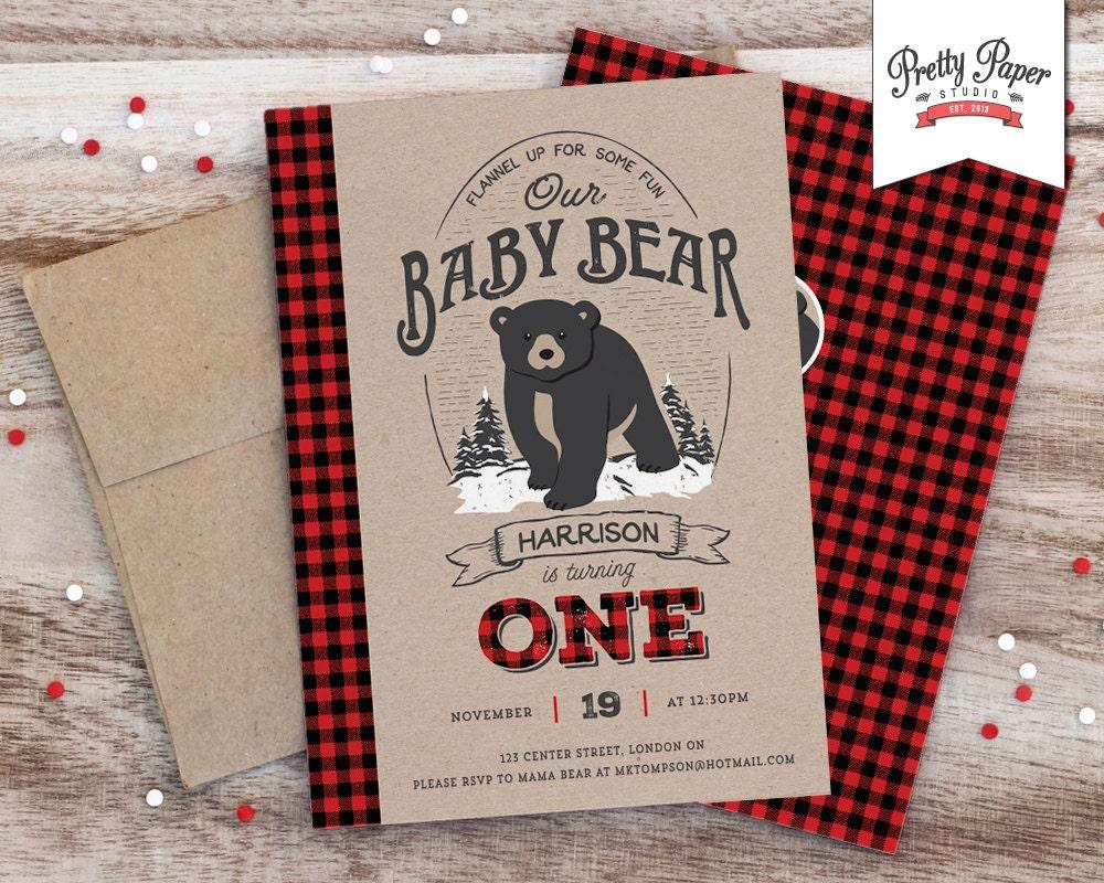 Baby Bear Lumberjack Birthday Party Invitation // Buffalo