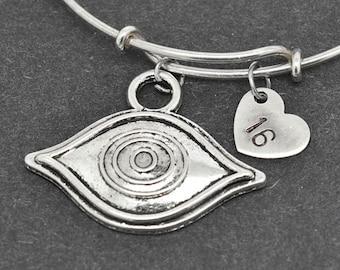 Hamsa Bangle, Evil Eye Bangle, Hamsa Bracelet, Hand Of Fatima Bangle, Personalized Bracelet, Charm Bangle, Initial Bracelet, Monogram