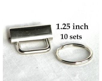 Key Fob Hardware Key Chain 1.25 inch Nickel Plated 10 sets