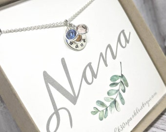Nana necklace - nana bracelet - nana jewelry - sterling silver birthstone Jewelry - gift for nana - gift for grandma - nana gifts