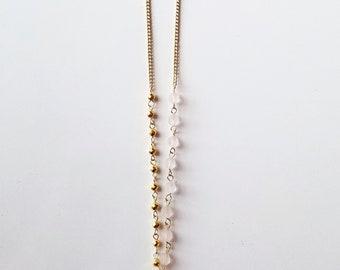 Asymmetrical Druzy Quartz Necklace with Rose Quartz & Gold Hematite Accents