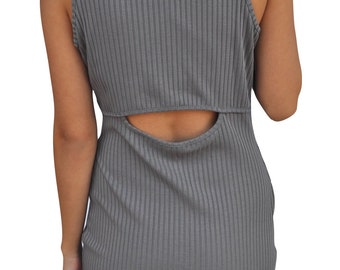 Grey Ribbed Ankle Dress - Open Back