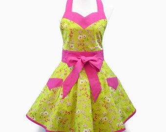 Plus Retro Floral Apron, Plus Spring Apron, Large Pink Floral Apron, Plus Chartreuse Apron, Bridal Shower, Birthday, Plus Bridal Shower Gift